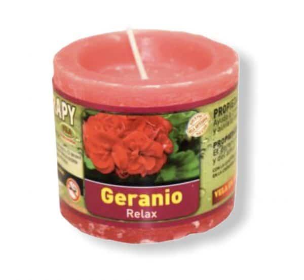 Velón aromaterapia geranio
